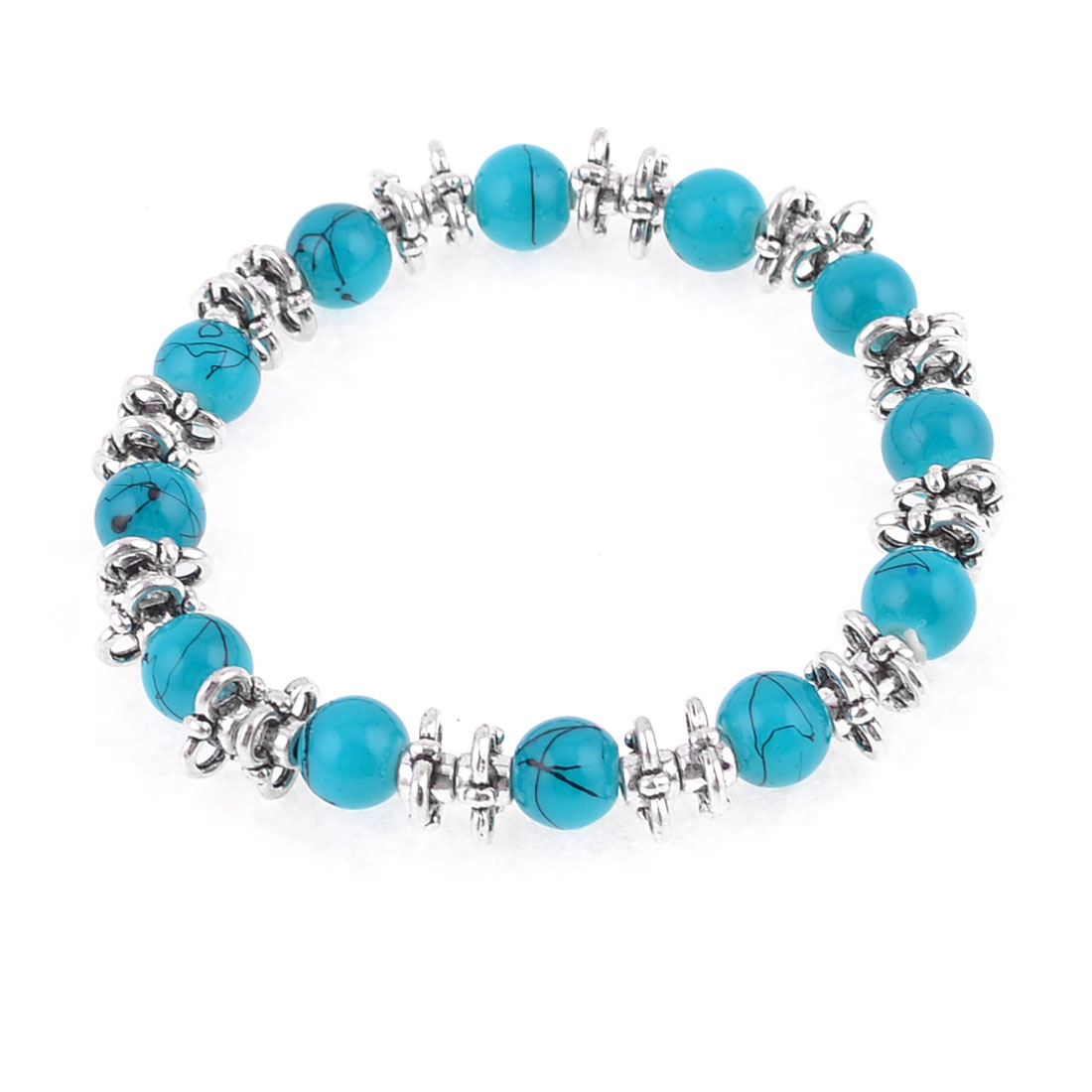 Turquoise Round Plastic Beads Bunch Elasticated Bracelet Wrist Decor for Ladies