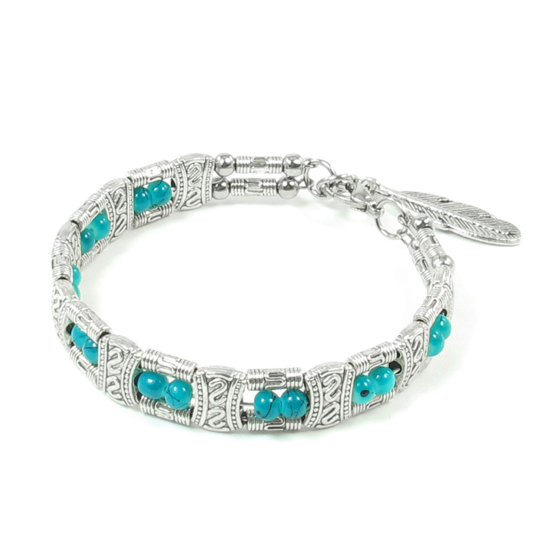 "Women 2.3"" Diameter Turquoise Silver Tone Small Beaded Inlaid National Bracelet"