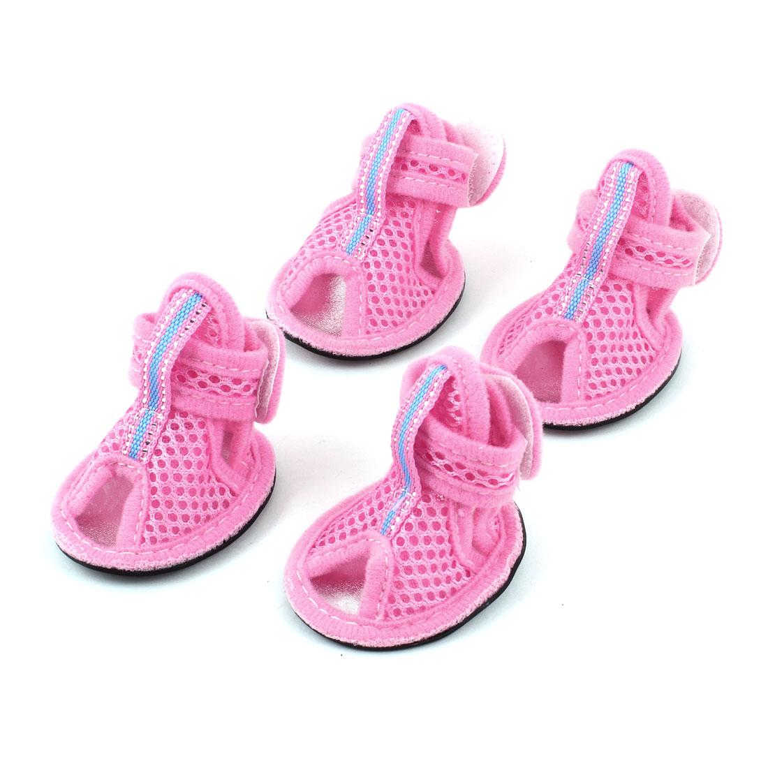 2 Pairs Black Rubber Sole Pink Mesh Sandals Dog Shoes Sz M