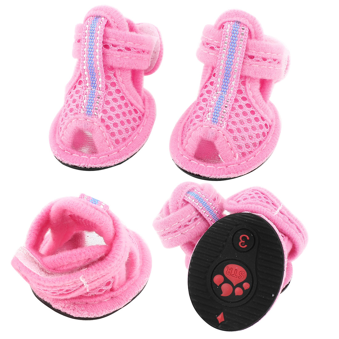 2 Pairs Pet Doggie Pink Mesh Vamp Sandals Shoes Size S