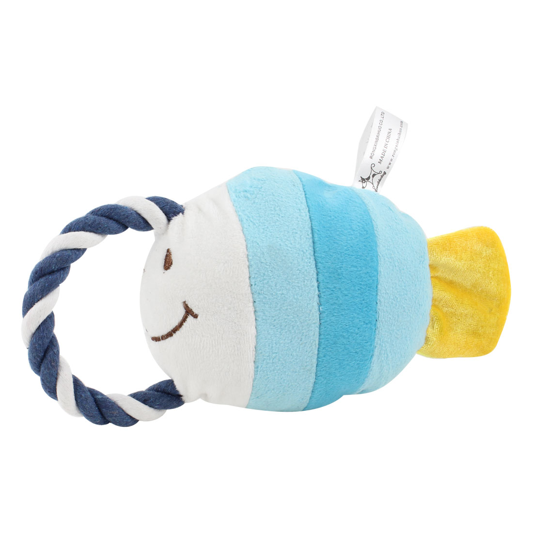 Pet Twisted Tug Rope Tropical Fish Design Squeeze Squeak Doll Toy Light Blue