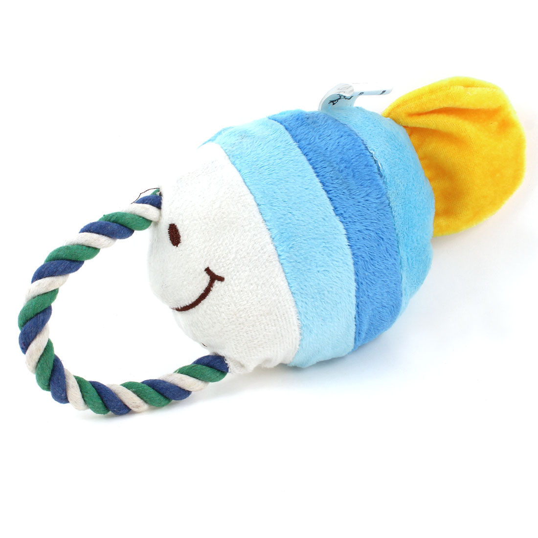 Light Blue Yellow Tropical Fish Shape Squeeze Squeak Doll Toy for Pet Dog