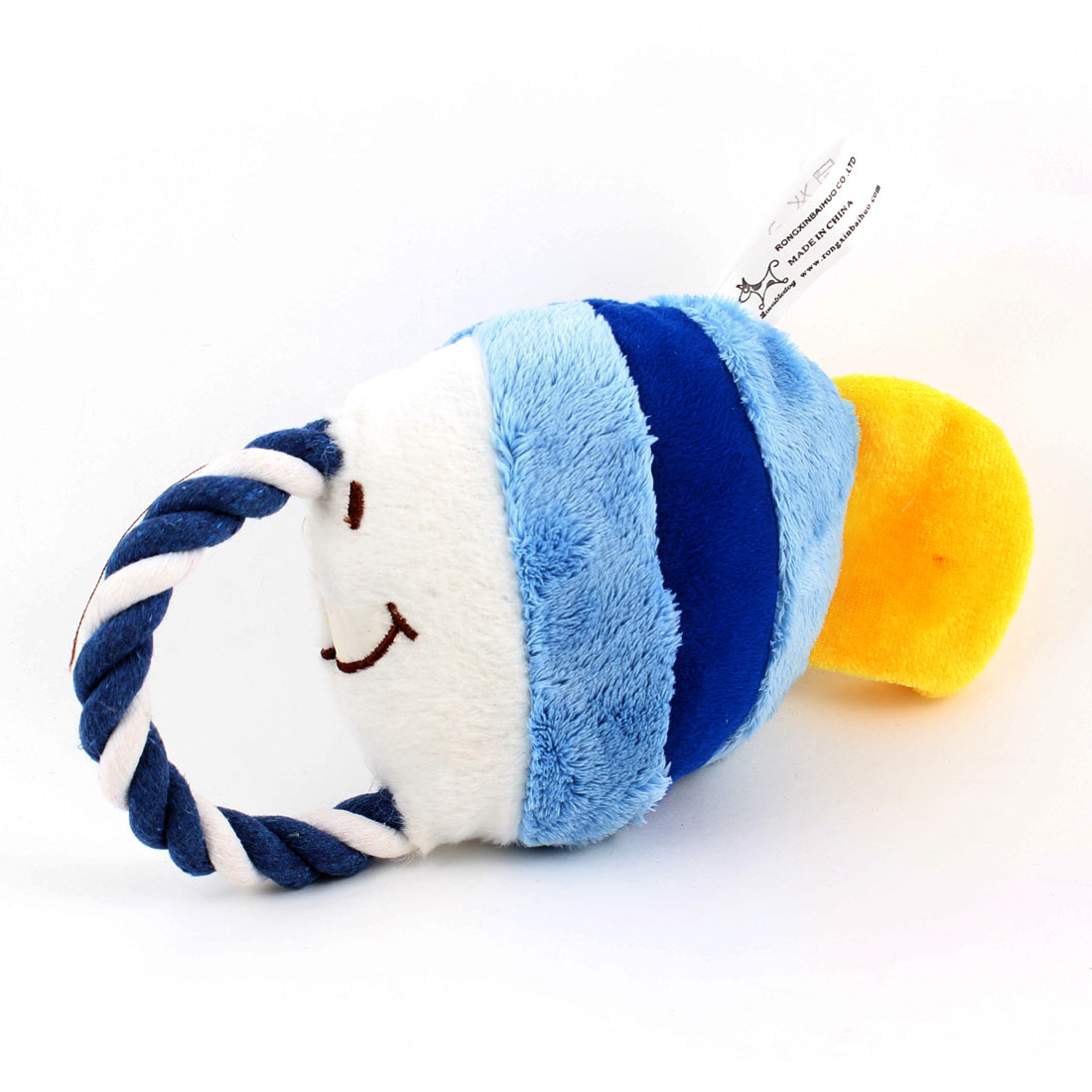 Pet Dog Twisted Tug Rope Tropical Fish Design Squeeze Squeak Doll Toy White Blue