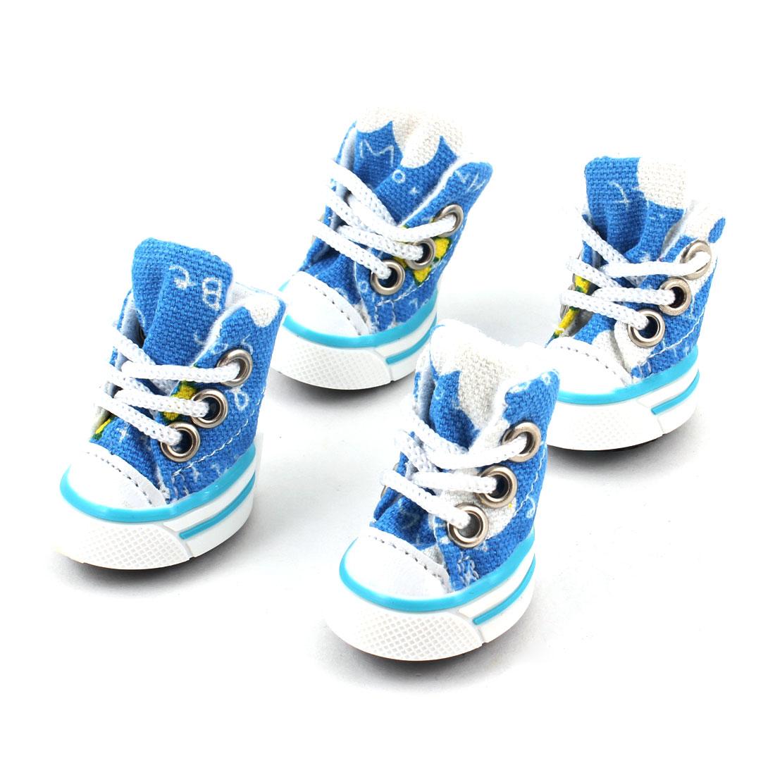 """2 Pairs Black Rubber Sole White Blue 1.6"""" High Canvas Pet Shoes Size XS"""