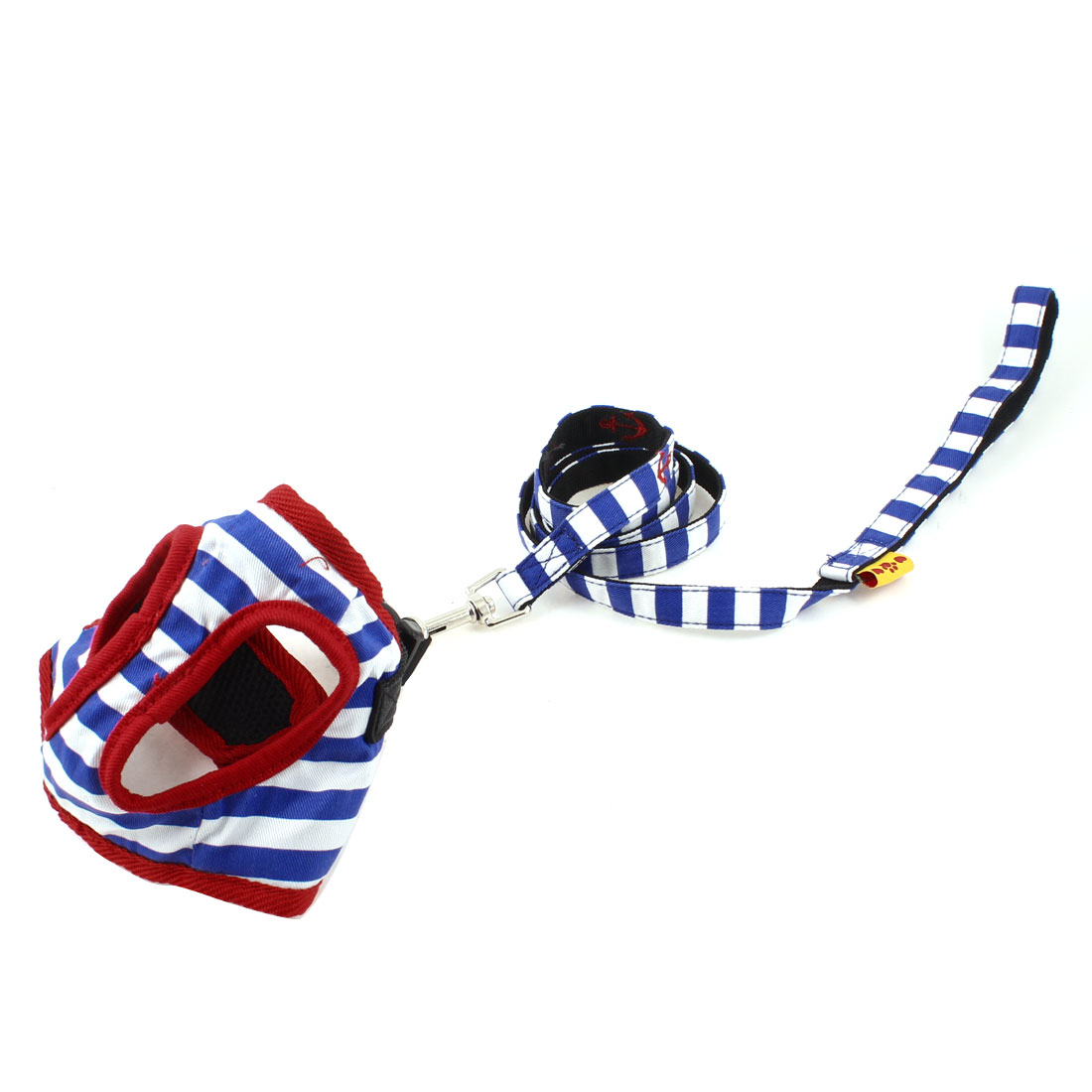 Pet Dog Blue White Striped Adjustable Harness Size 1 w Leash