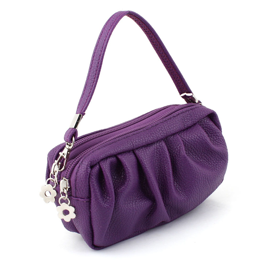 Purple Faux Leather Dual Compartments Zipper Handbag Wallet Purse for Lady