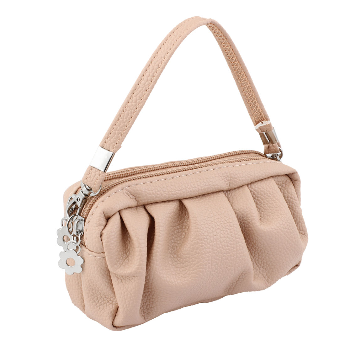 Ruched Patter Zipper Closure Handbag Bag Pale Pink w Hand Strap for Lady
