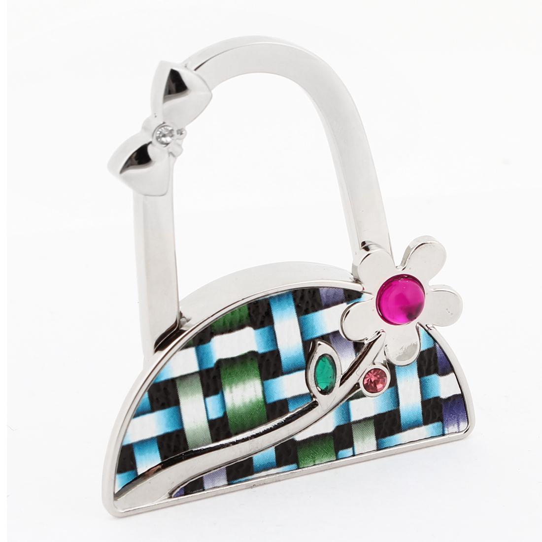 Fushsia Rhinestones Flower Oranment Foldable Handbag Hook Hanger