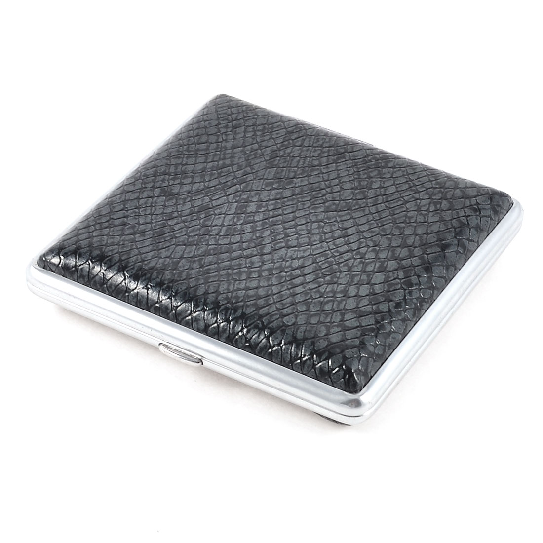 Snake Pattern Faux Leather Rectangle Metal Cigarettes Tobacco Holder Case Black Gray