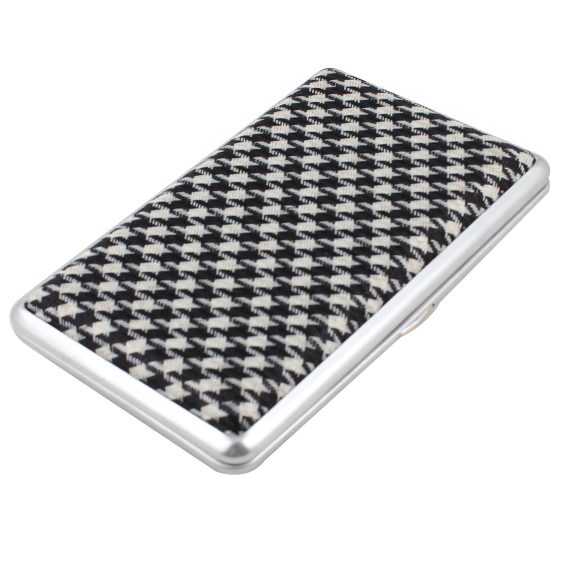 Rectangle Nylon Metal Cigarette Case Box Beige Black Silver Tone for Men