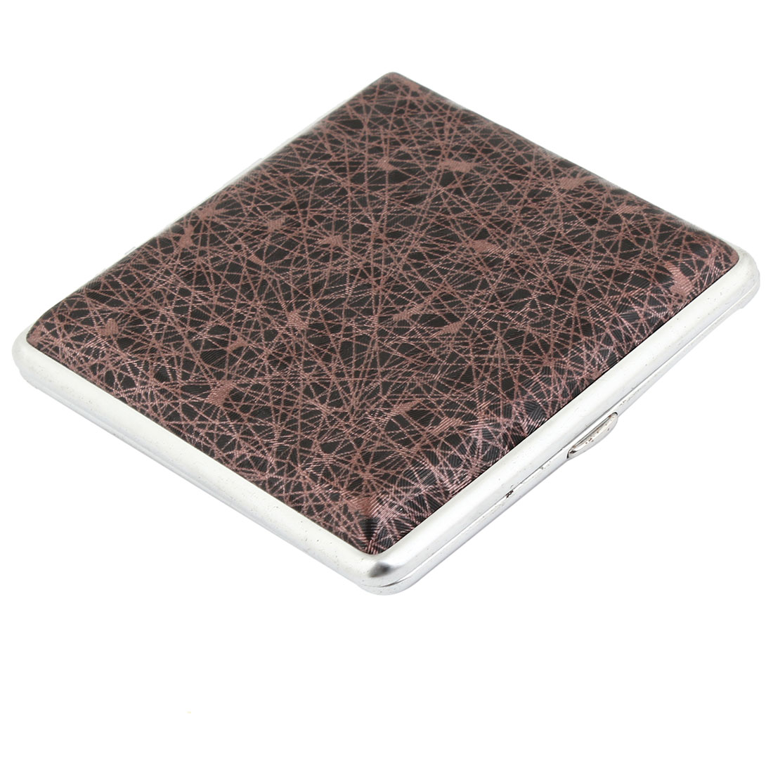 9.5cm x 9.5cm Check Pattern Cigarette Holder Case Brown Taupe