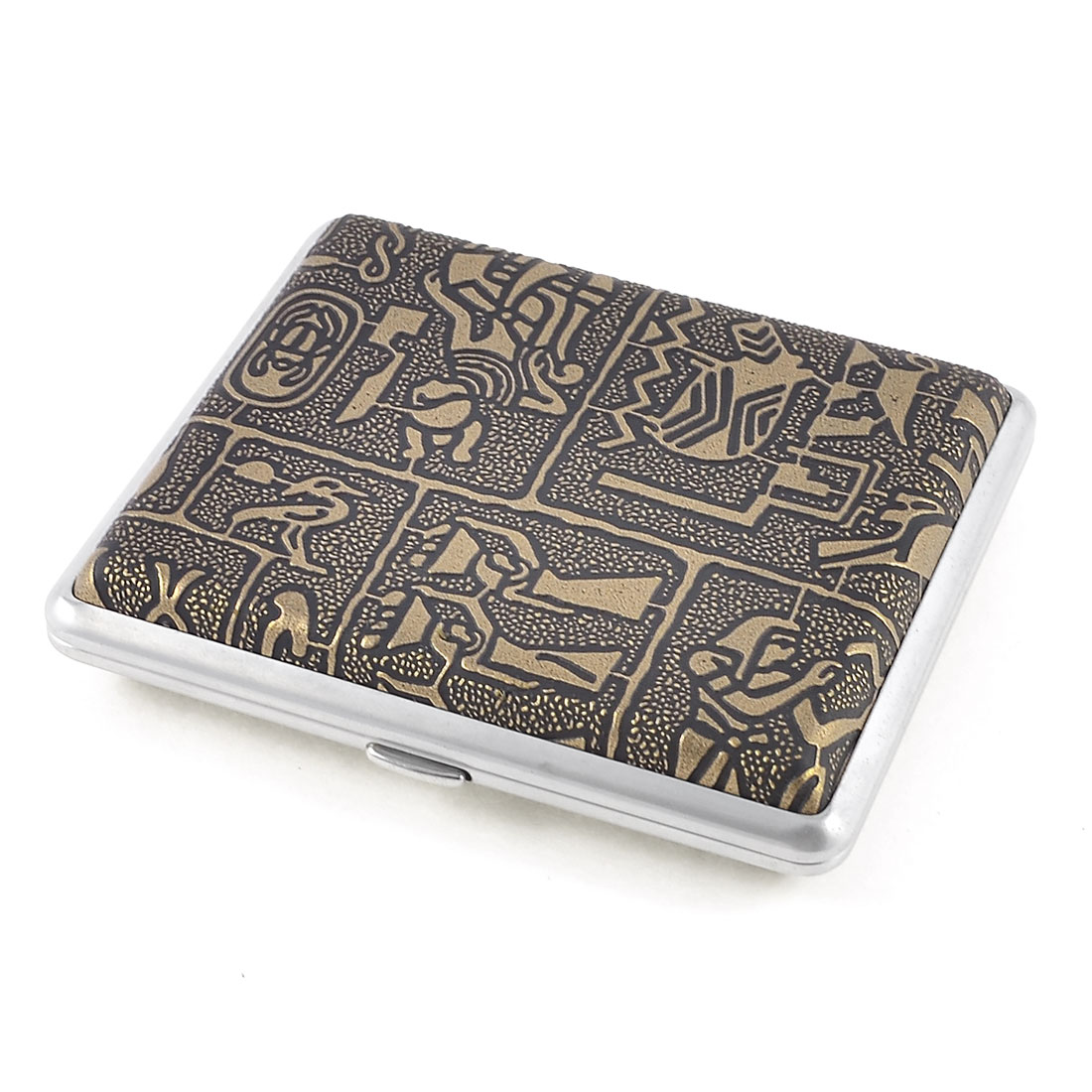 Man Egypt Women Pattern Faux Leather Wrapped Metal Cigarette Case Bronze Tone
