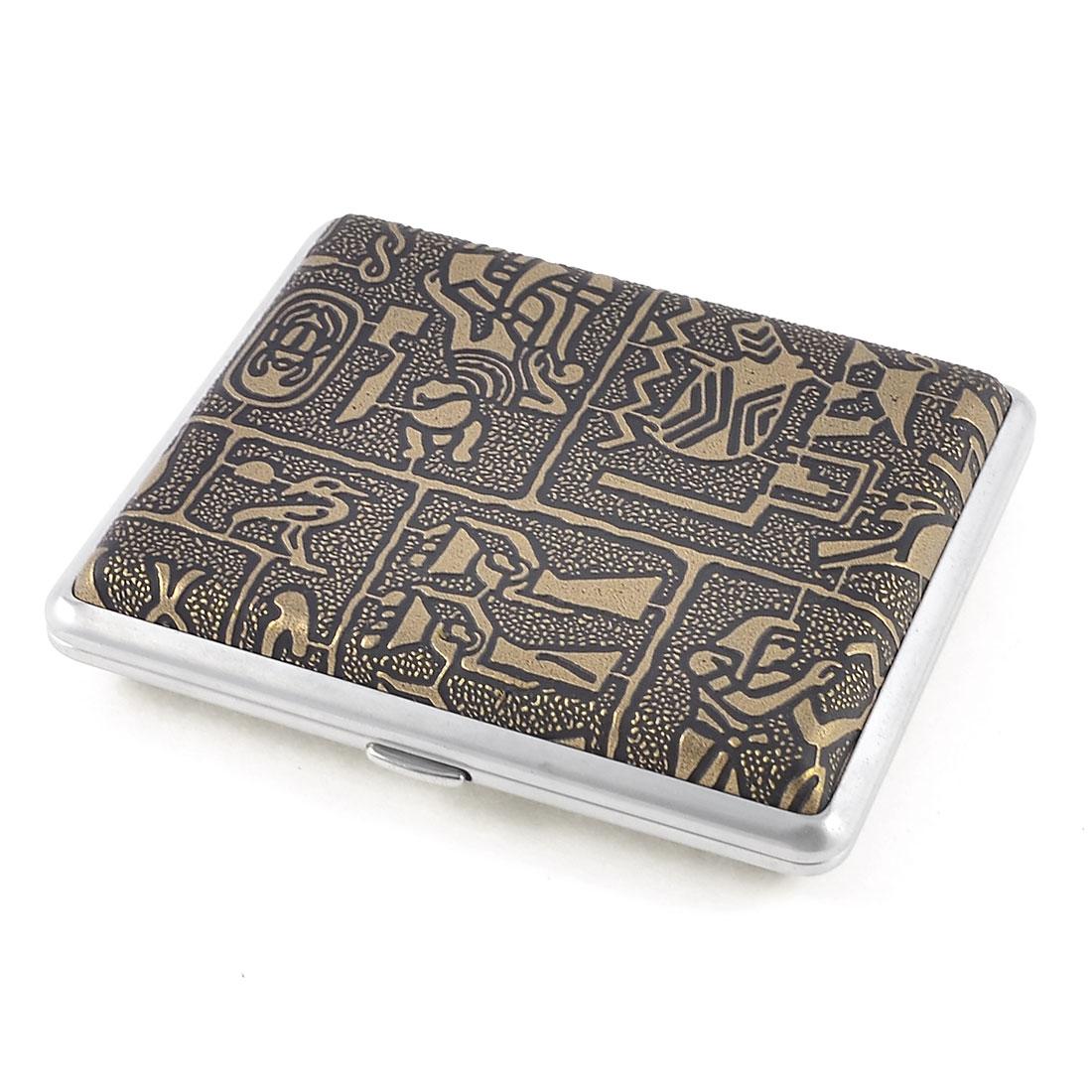 Man Egypt Women Pattern Faux Leather Wrapped Metal Cigarette Case Bronze Tone