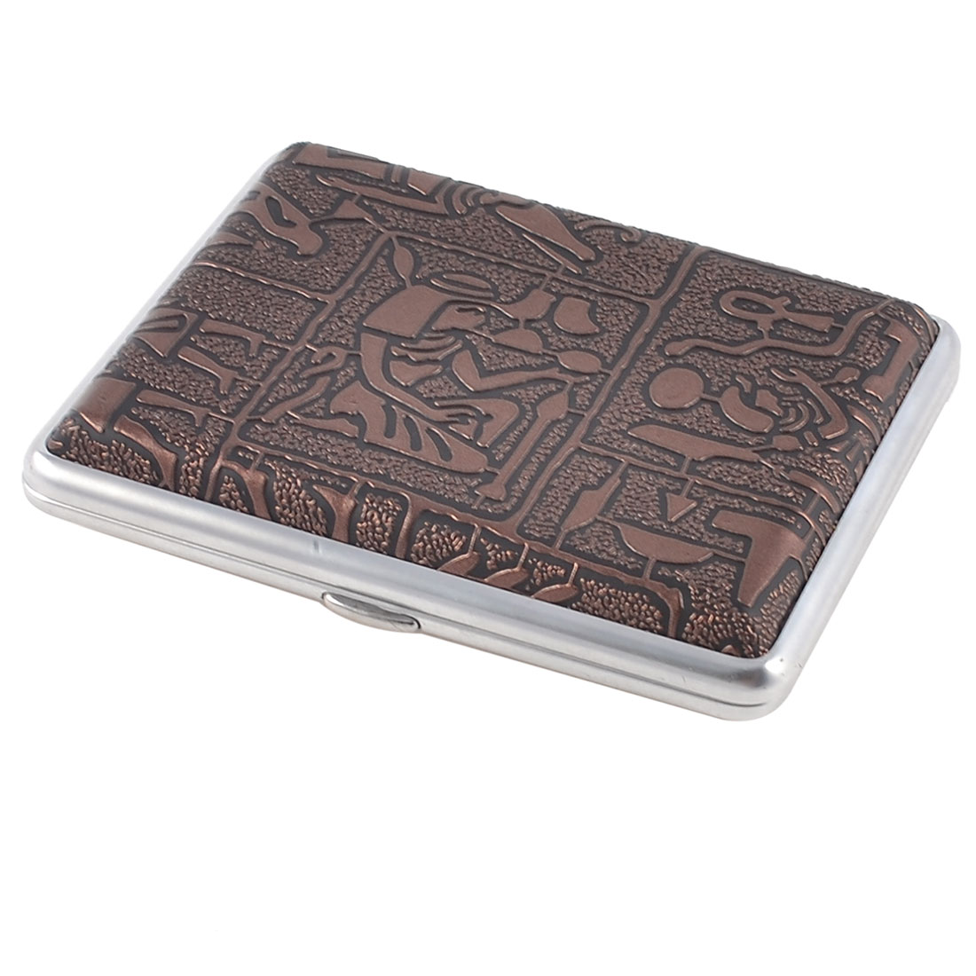 Travel Egypt Women Pattern Faux Leather Shell Metal Cigarette Case Brown