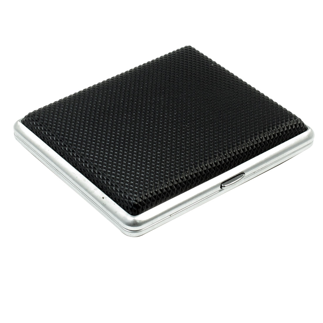 Business Rhomb Pattern Black Plastic Coated Metal Cigarettes Tobacco Box Case