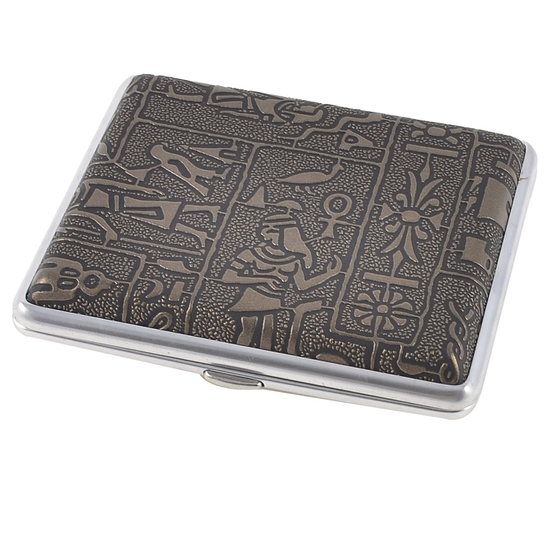 Egypt Women Printed Faux Leather Wrapped Metal Cigarette Case Bronze Tone