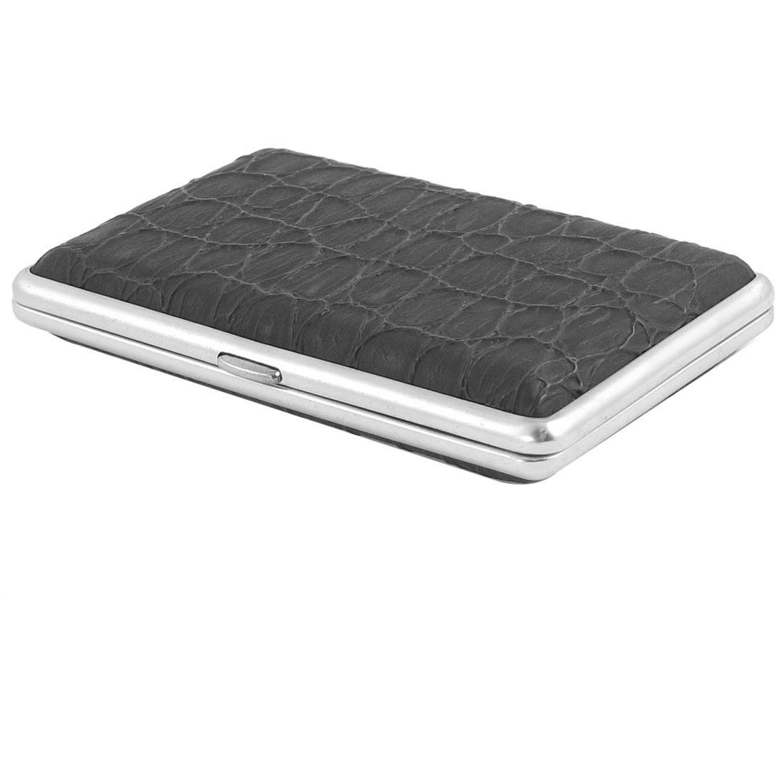 10.7cm x 6.7cm Faux Leather Coated Rectangular Metal Cigarette Case