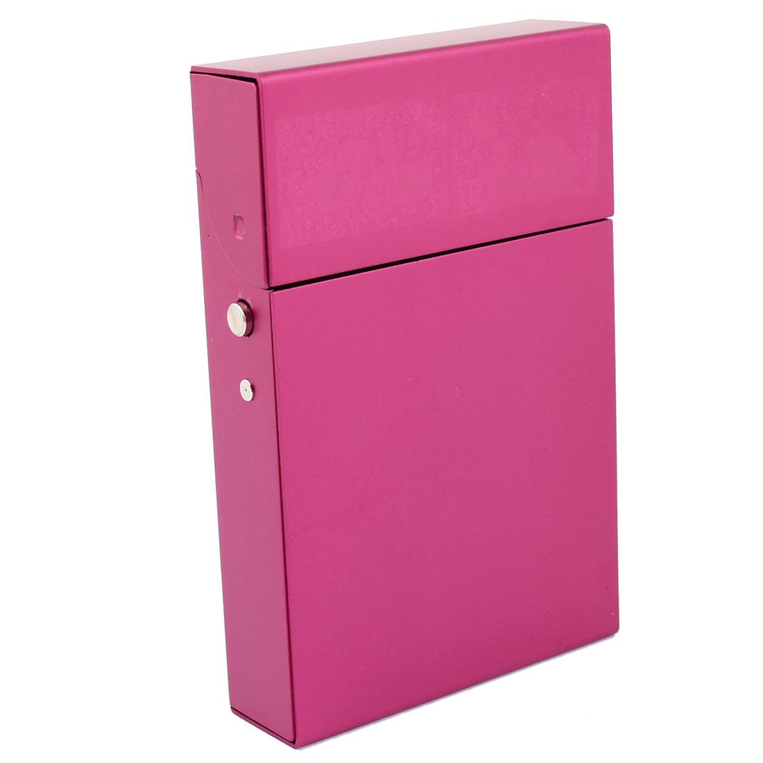 9.2cm Long Fuchsia Aluminum Press Open Buckle Cigarette Case Holder