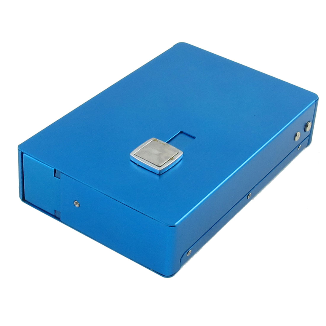 Blue Double Closure Rectangle Aluminum Alloy Cigarette Box Holder