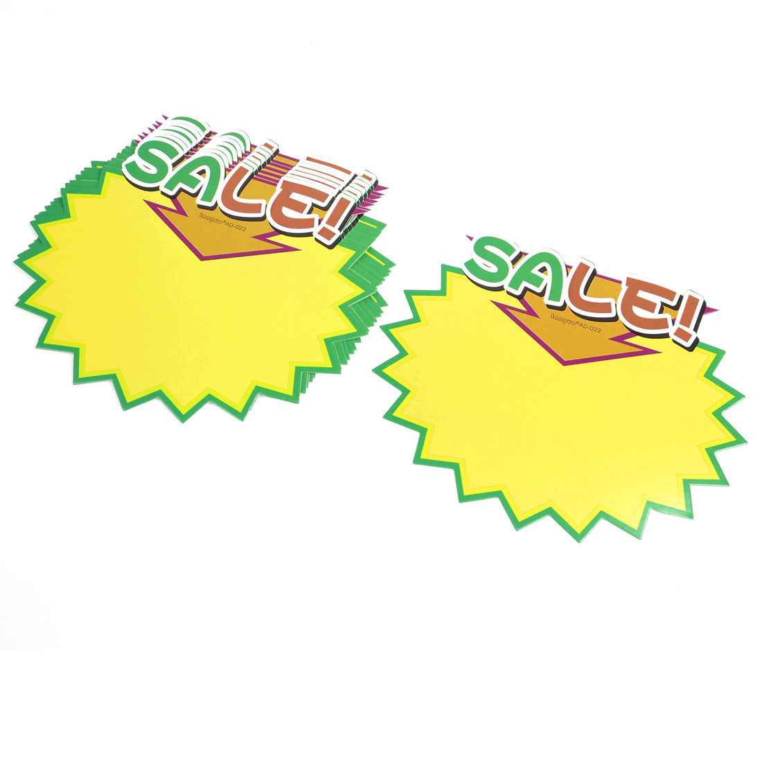 10pcs Shop Store Sale Promotional Price Tags Signs POP Paper Yellow Green
