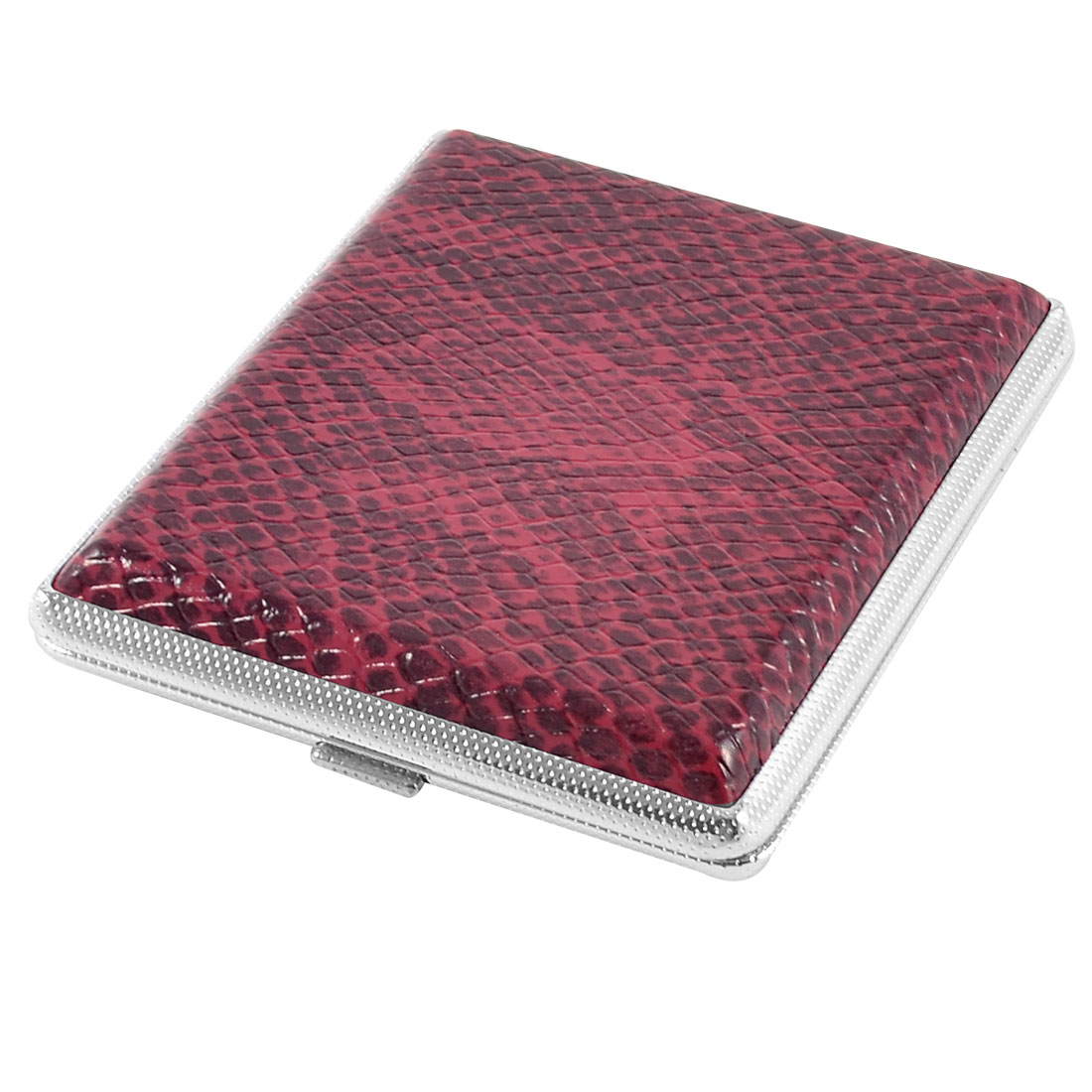 9.8 x 8.3cm Snake Pattern Faux Leather Metal Cigarettes Tobacco Box Case Burgundy