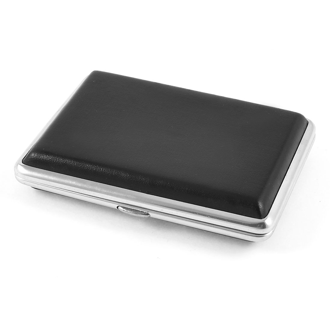 9.8 x 7cm Black Faux Leather Wrapped Metal Cigarettes Tobacco Box Case