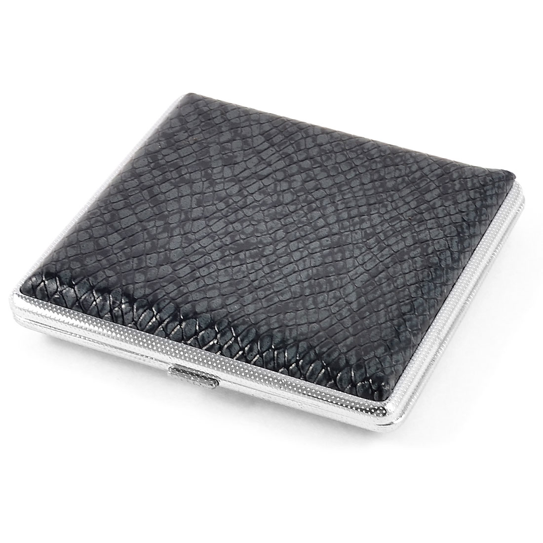 9.8 x 9.2cm Snake Pattern Faux Leather Metal Cigarettes Tobacco Holder Case Dark Gray