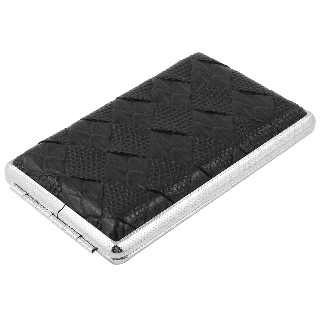 Men Rhombus Print Black Faux Leather Coated Metallic Cigarette Box