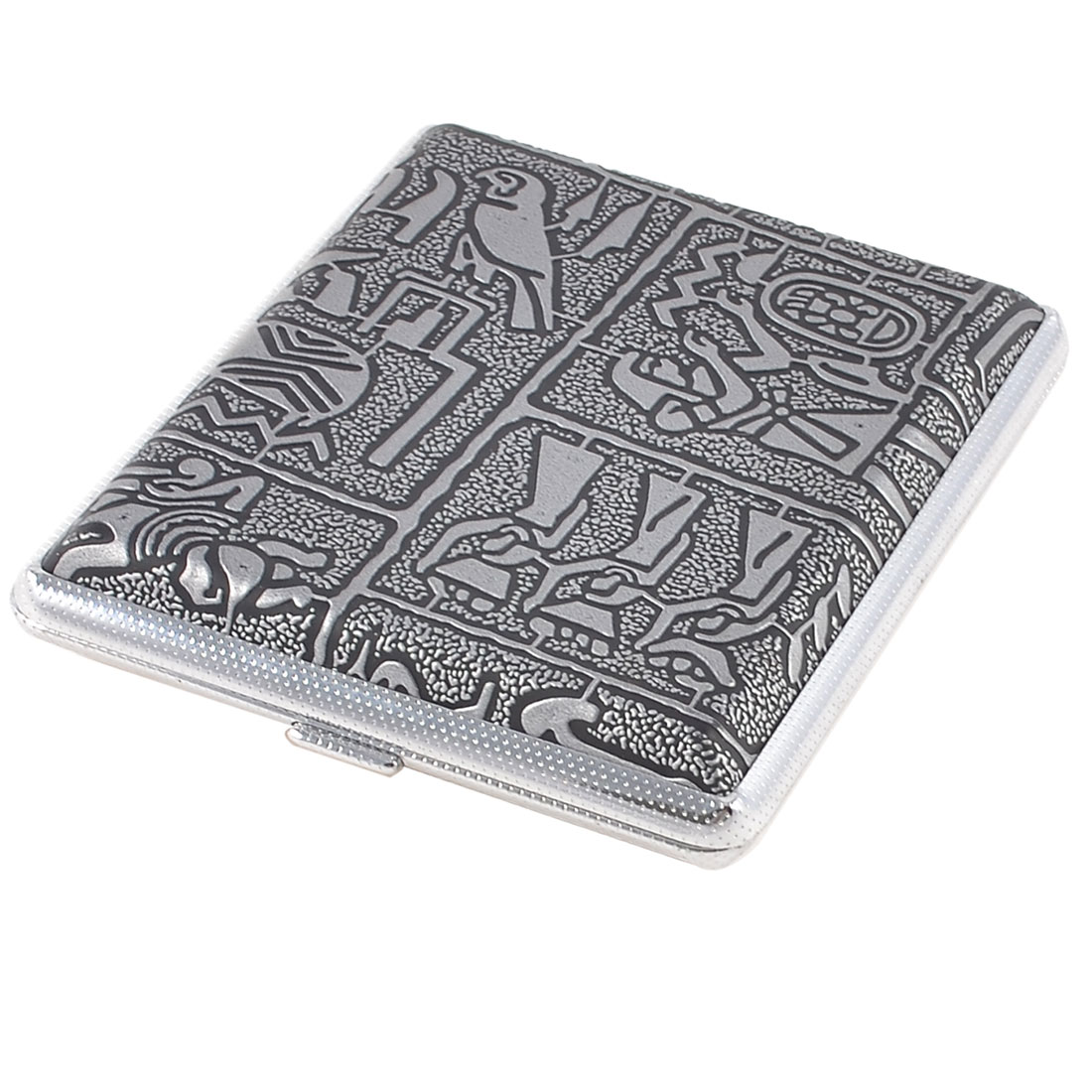10 x 8.5cm Egypt Women Printed Faux Leather Cigarette Case Silver Tone Black