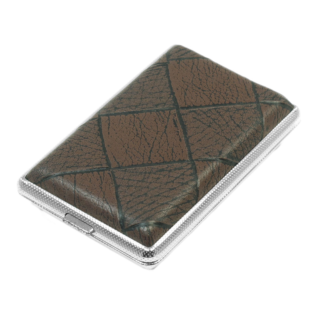 Man Brown Grid Pattern Faux Leather Metal Cigarettes Case Box