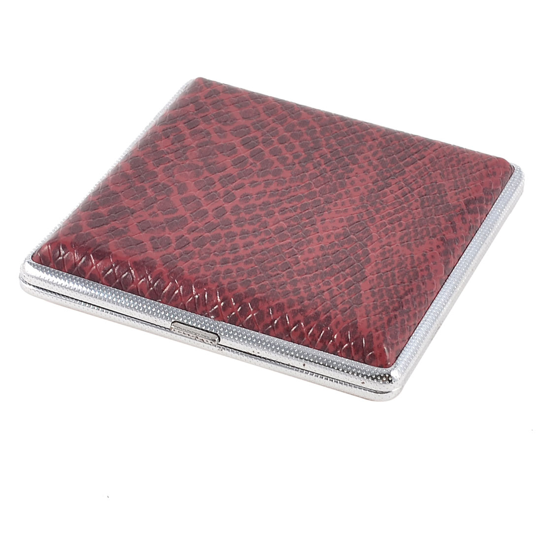 Snake Pattern Faux Leather Rectangle Metal Cigarettes Tobacco Holder Case Burgundy