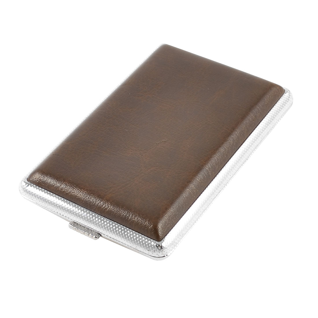 9.8 x 6cm Brown Faux Leather Wrapped Metal Cigarettes Tobacco Box Case