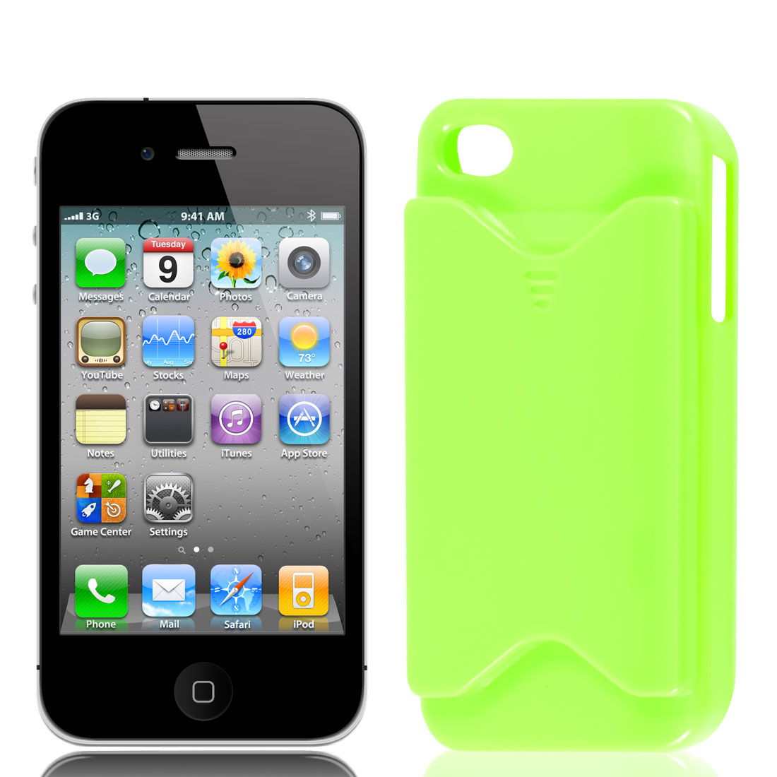 Green Plastic VIP Business Credit Card Holder Slot Back Cover Case for iPhone 4 4S 4G