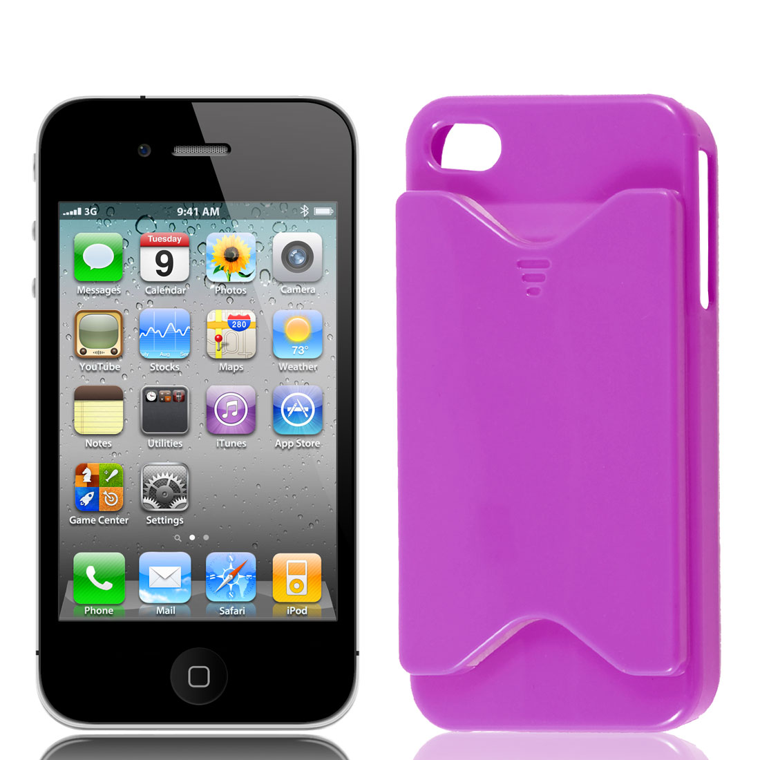 Fuchsia Business Credit Card Holder Slot Back Case Cover for Apple iPhone 4 4S 4G