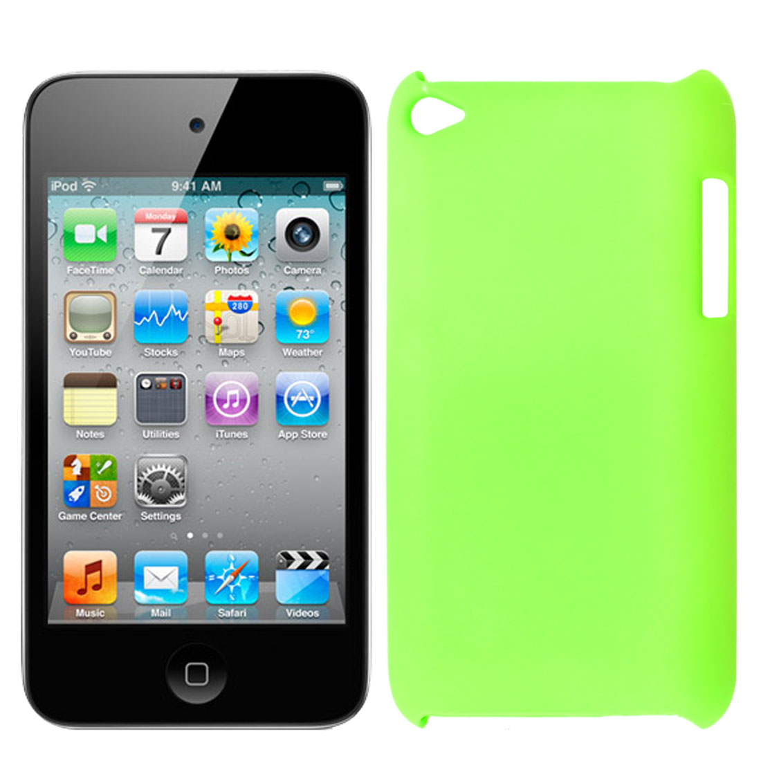 Light Green Rubberized Plastic Back Case Shell Cover for iPod Touch 4
