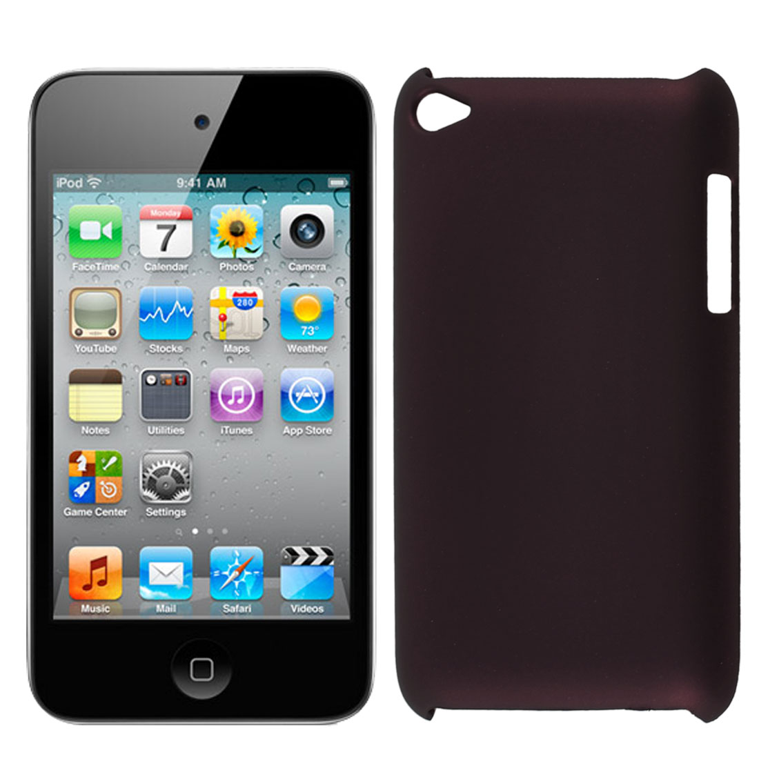 Dark Burgundy Rubberized Hard Protector Back Case Cover for iPod Touch 4 4G