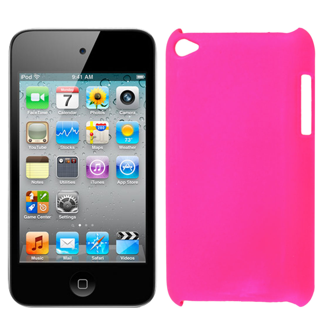 Fuchsia Rubberized Hard Protector Back Case Cover for iPod Touch 4 4G