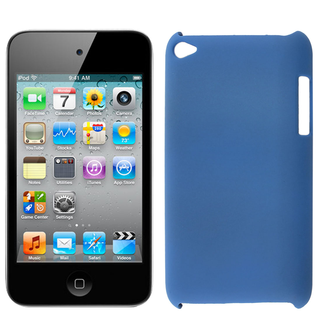 Navy Blue Rubberized Hard Protector Back Case Cover for iPod Touch 4 4G