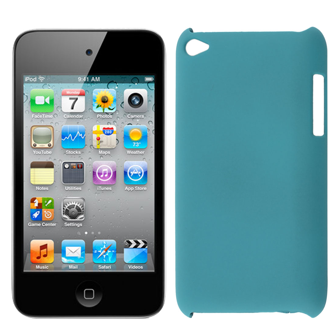 Teal Green Rubberized Hard Protector Back Case Cover for iPod Touch 4 4G