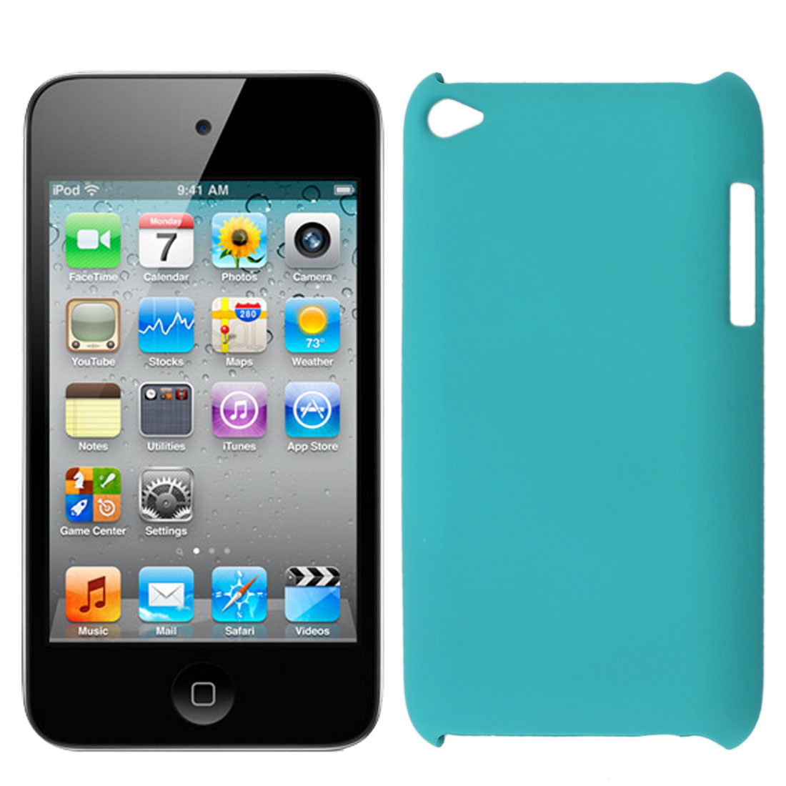 Turquoise Color Hard Plastic Back Case Protector for iPod Touch 4 4G