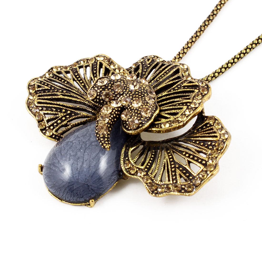 Woman Slateblue Raindrop Stone Decor Gold Tone Alloy Chains Sweater Necklace