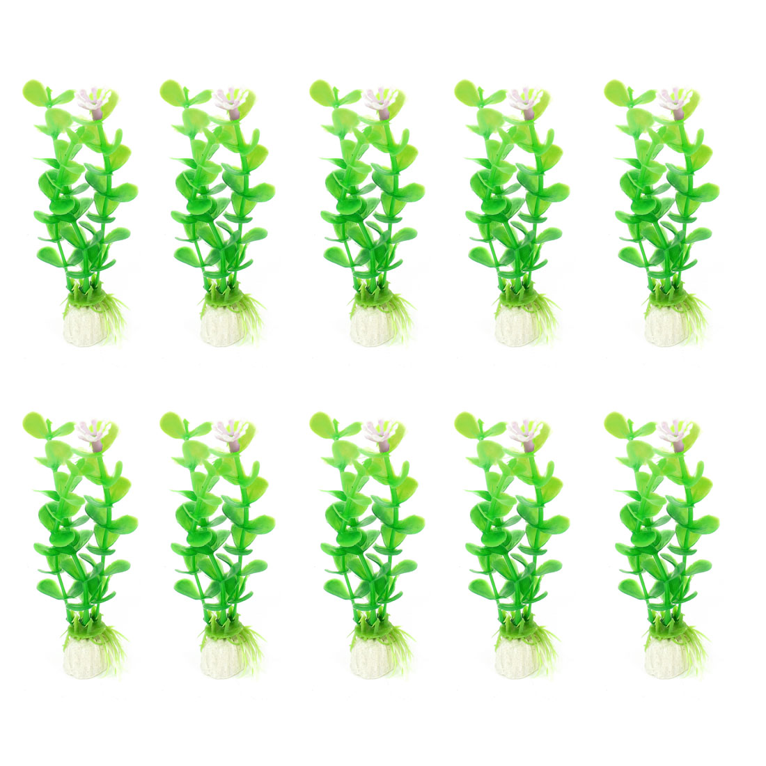 "10 Pcs 4.7"" Height Green Purple Man-made Grass Plant Ornament for Fish Tank"