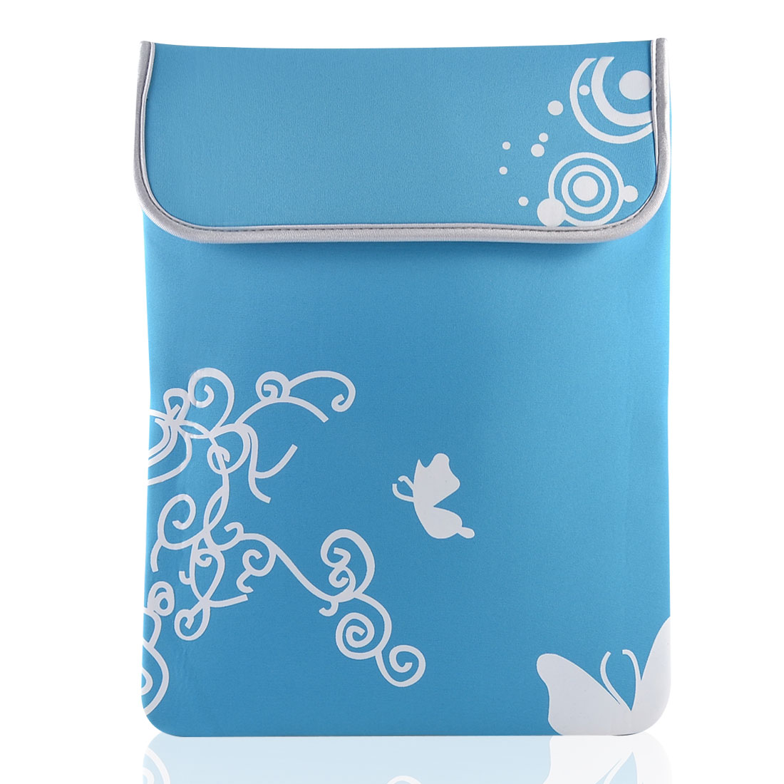 "10"" Laptop White Butterfly Swirl Circle Sky Blue Neoprene Sleeve Bag Case Pouch"
