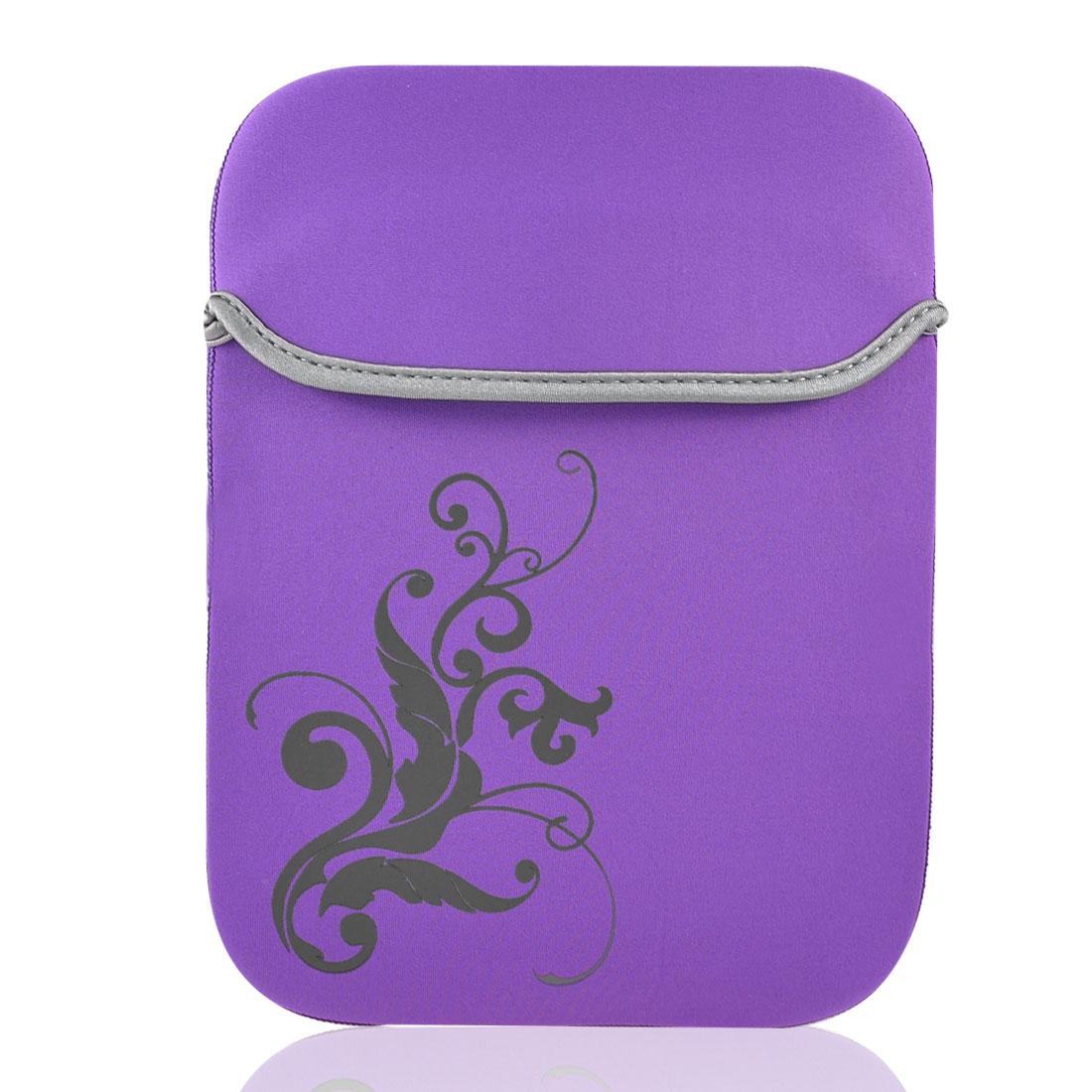 """10"""" 10.1"""" Tablet Laptop Flower Pattern Purple Neoprene Sleeve Bag Case Pouch"""