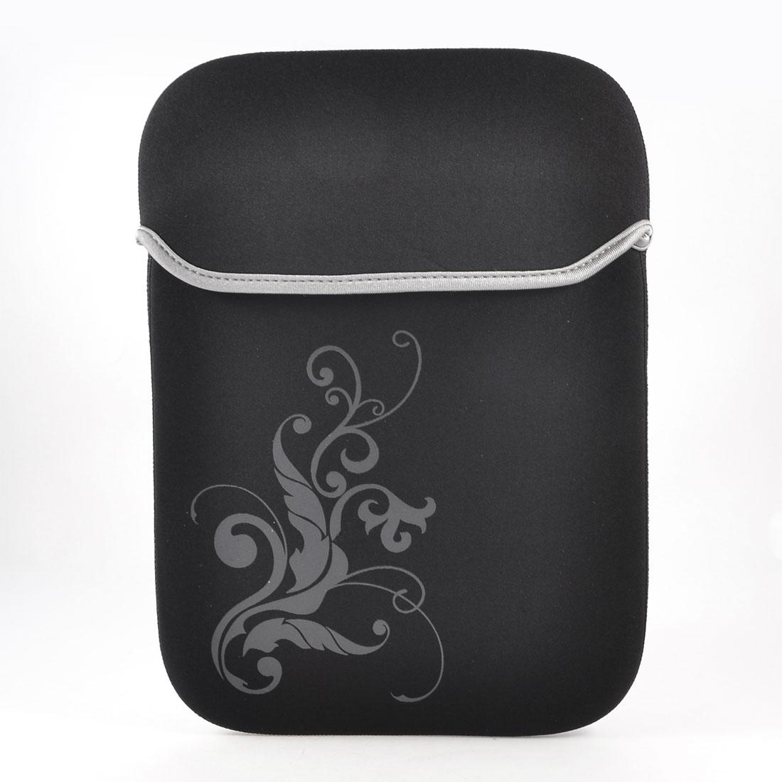 "10"" 10.1"" Tablet Laptop Flower Pattern Black Neoprene Sleeve Bag Case Pouch"
