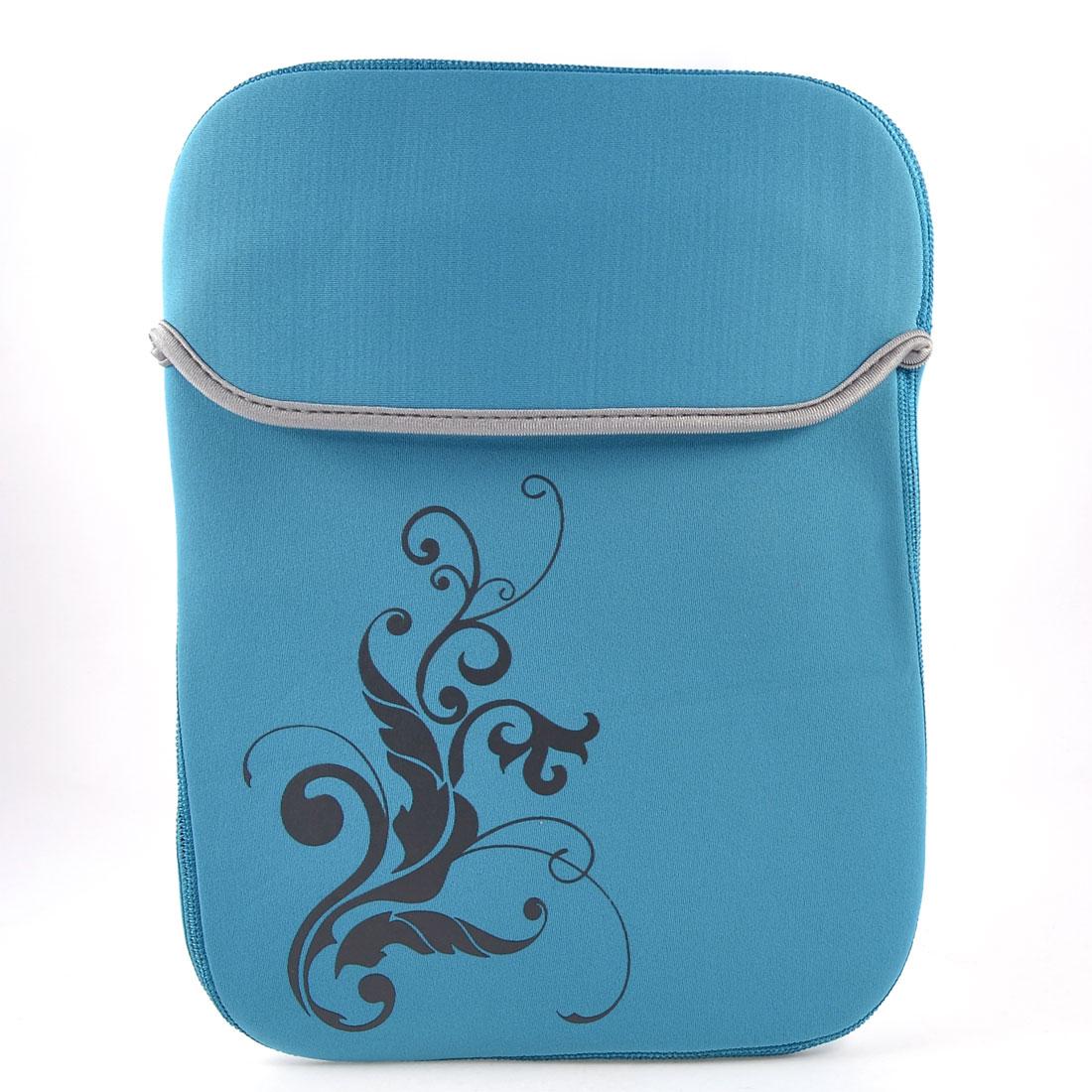 "10"" 10.1"" Tablet Laptop Flower Pattern Sky Blue Neoprene Sleeve Bag Case Pouch"