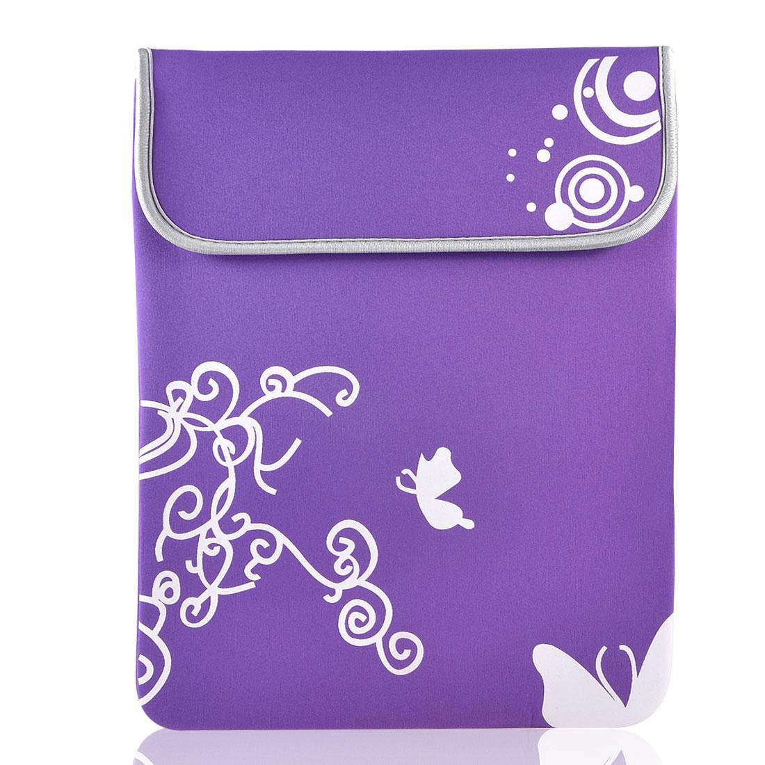 "10"" Laptop White Butterfly Swirl Circle Purple Neoprene Sleeve Bag Case Pouch"