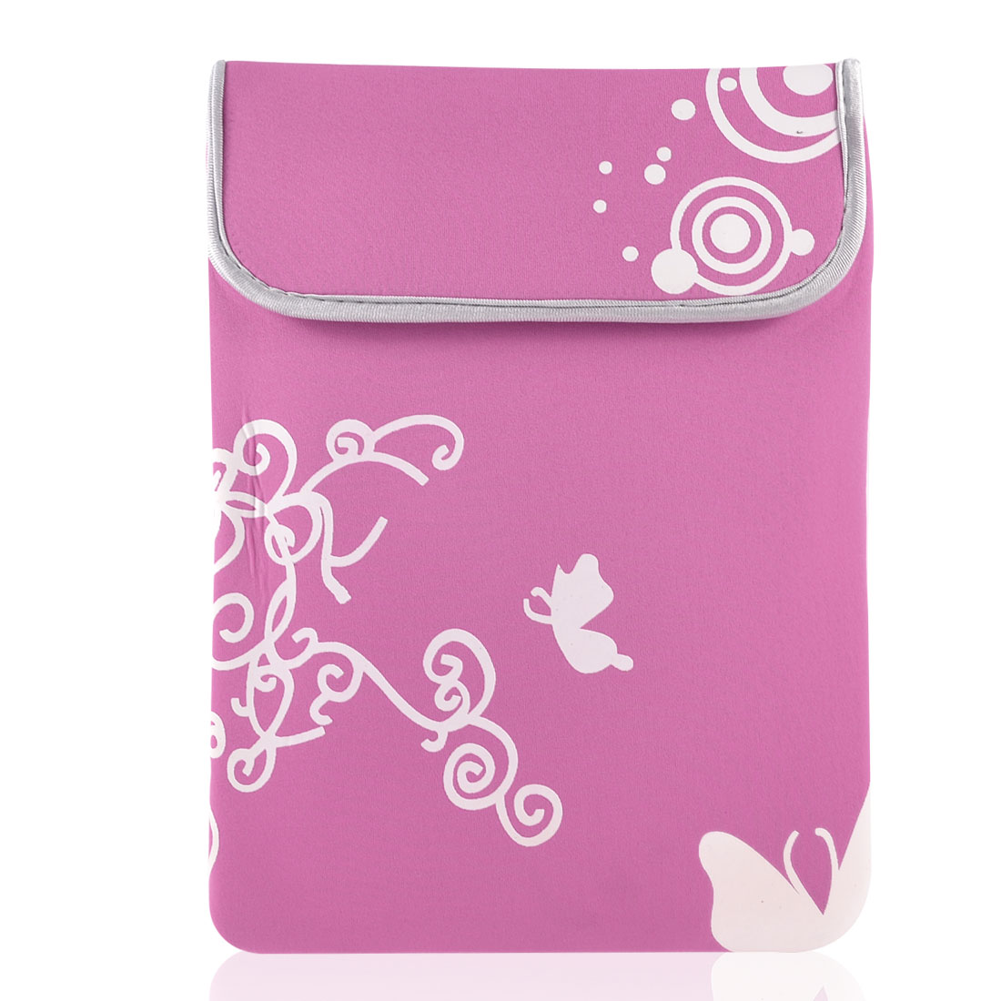 "10"" Laptop White Butterfly Swirl Circle Pink Neoprene Sleeve Bag Case Pouch"