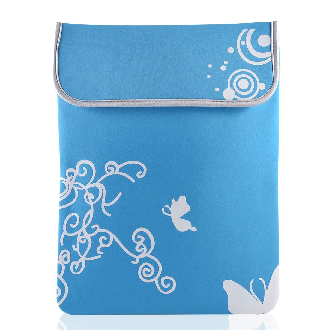 """14"""" 14.1"""" Laptop White Butterfly Swirl Sky Blue Neoprene Sleeve Bag Case Pouch"""