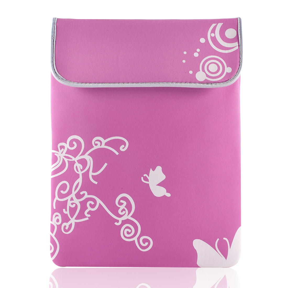 "14"" 14.1"" Laptop White Butterfly Swirl Pink Neoprene Sleeve Bag Case Pouch"